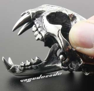 & Heavy 316L Stainless Steel Lion Skull Men`s Pendant Openable W031