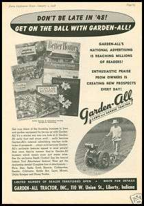 1948 vintage ad for Garden All Lawn and garden tractor