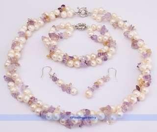 Ametrine & White Pearl Necklace Earrings Bracelet Set