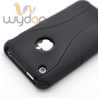 New 3 Piece Rubberized Black iPhone 3G 3GS Hard Case Cover w/ Screen