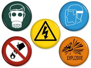 WARNING SIGN MAGNETS Set #2 Science Lab Tech Gas Mask Chemistry Lot