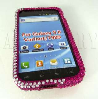 SAMSUNG GALAXY S2 HERCULES T989 PINK HEART PEARL DIAMOND BLING COVER