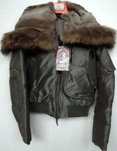 PARAJUMPERS GOBI DOWN BOMBER JACKET TEFLON MURMANSKY FUR SAGE WOMEN XS