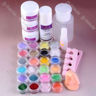 New Pro Acrylic Powder Glitter Brush Liquid UV Nail Art Kit French Tip