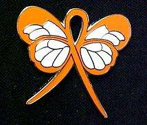 Leukemia Awareness Orange Ribbon Butterfly Lapel Pin