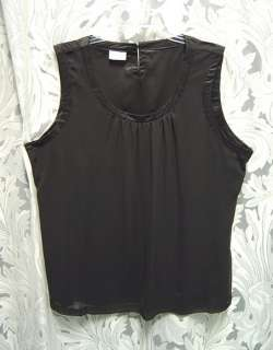 WOW~BLACK CHIFFON SATIN TANK CAMISOLE SHIRT TOP SHELL~2X~1X~XXL~XL~L~M