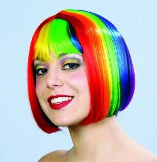 Rainbow Pride Multi Color Costume Bob Wig *New*