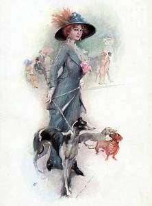 GREYHOUND AND GLAMOROUS LADY LOVELY LITTLE DOG PRINT