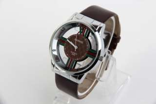 Cross Design Watch Quartz Women Men WristWatch Fashion Unisex Brown