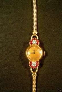 HAMILTON 14K ROSE GOLD RETRO DIAMOND & RUBY WRISTWATCH