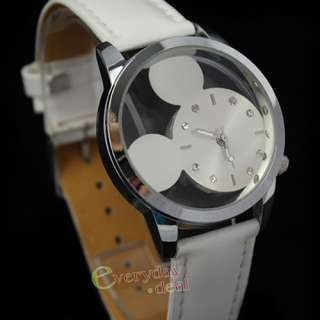 White Leather Fashion Mouse Head Dial Lady Girl Sport Quartz Wrist