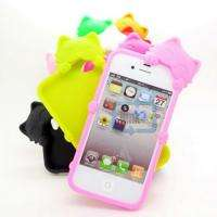 Pusycat Kitty Cute Cat Soft Silicone kiki Back Case Cover For iPhone 4