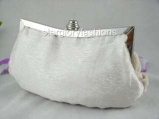 Weaved Satin Crystal Frame Wedding Clutch Bag 10 Colors