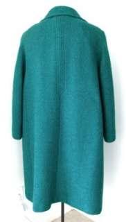 Vtg 50s 60s Mad Men Scretary Teal Green Black Boucle Wool Tweed Swing