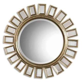 34 In. Silver Leaf Contemporary Round Framed Mirror  DISCONTINUED