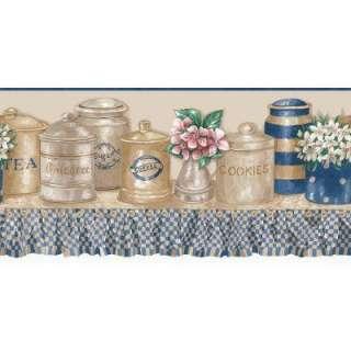 Blue and Beige Kitchen Jars Die Cut Border WC1282859