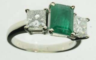 WHITE GOLD EMERALD DIAMOND 3 THREE STONE ESTATE RING J213078