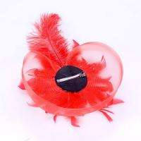 Feather Clutch Lady Women Wedding Party Veil Top Hat Hair Clip