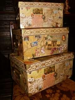 VINTAGE STEAMER TRUNKS BOXES STORAGE VICTORIAN OLD WORLD MAP STAMPS