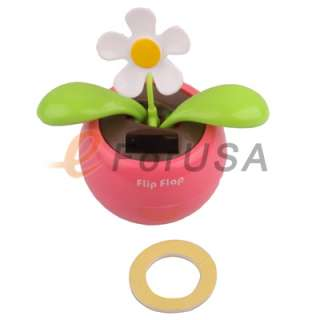 New Solar Powered Flip Flap Dancing Baby Toy Flower   Pink