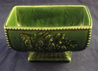 Mccoy Pottery Footed Green Planter Pot Grape Leaves Vtg