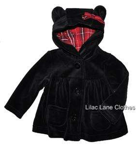 Holiday Traditions Black Teddy Bear Velour Hoodie Pants or Shirt NWT