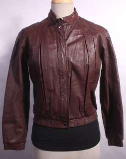 WOMENS VTG SOFT LEATHER BIKER/CAFE RACER JACKET sz M