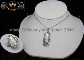 MP Lovely Natural White BIWA Pearl Pendant & Ring Set