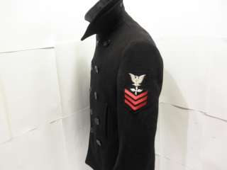 Vintage 10 Button Military Navy USN Issue Wool Pea Coat Jacket