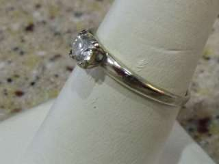 14K WHITE GOLD DIAMOND SOLITAIRE ENGAGEMENT RING  OLE MINE CUT ANTIQUE