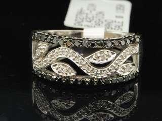 GOLD BLACK DIAMOND ENGAGEMENT RING WEDDING ANNIVERSARY BAND 0.42 CT