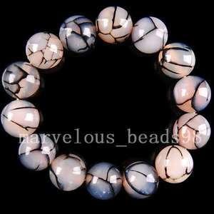 14mm New Black Dragon Veins agate Beads Bracelet E0023