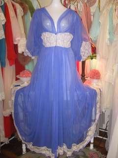JENELLE Vintage CHIFFON Long PURPLE Nightgown ROBE Peignoir Dressing