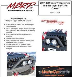 MBRP 131128 07 10 Jeep Wrangler JK Bumper Light Bar/Grill Guard