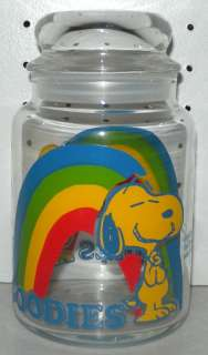 75 Peanuts Snoopy Woodstock Rainbow Goodies Glass Candy Jar 1965
