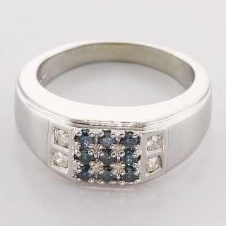 Marvelous Mens Fancy Blue & White Diamond 14K White Gold Vintage