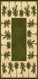 OASIS TROPICAL PALM TREE DESIGN 5X8 AREA RUG, CARPET GREEN BEACH