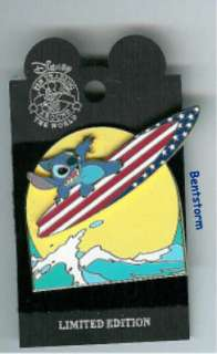 LE 2000 Disney LILO & STITCH Surfboard MOVING Pin RARE