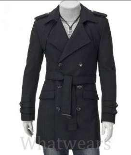 Mens Slim Fit D Breast Strap Trench Coat Black W74