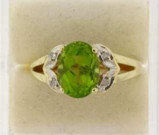 Beautiful Peridot & Diamonds 14k Gold Ring