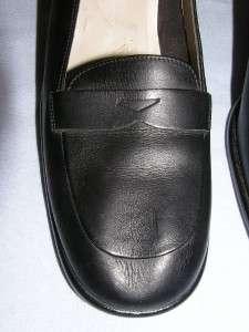 Anne Klein II Black Leather Heel Pumps Sz 9N Chunky