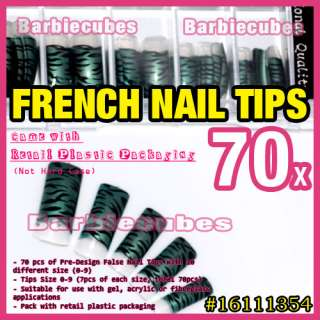 70 pcs Animal Zebra Strap Art Design French False Acrylic Nail Tips