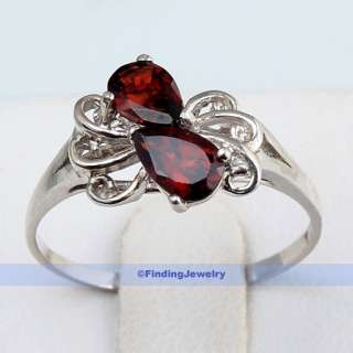 Luxury Fancy 9CT Red Garnet Silver Ring Size 8  FINDINGJEWELRY