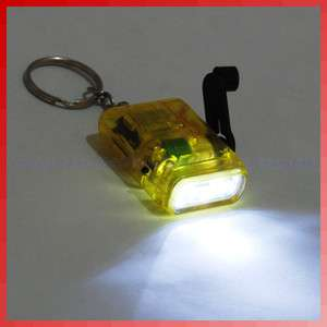 Mini Hand Crank Power Flashlight Torch 2 LED Light Lamp