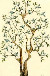4x6 PRINT   The Bird Tree   cat, pets, tree, blue birds