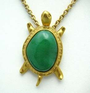 Vtg AVON Turtle Necklace & Brooch Pin, Green Stone Back