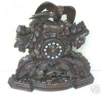 GREAT CARVED LARGE BLACK FOREST MANTLE CLOCK 1870
