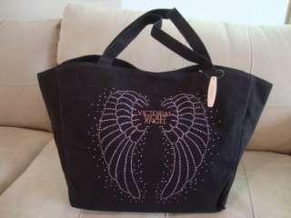 NEW VICORIAS SECRE ANGEL BLACK WEEKEND CANVAS OE BAG PURSE LARGE