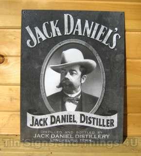 Jack Daniels Portrait TIN SIGN whiskey ad bar vtg metal wall decor