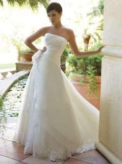 custom White/ivory chiffon&lace A line Wedding Dress bridal gown